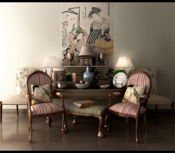 Classic-decor-asian-inspired-designs-striped-chairs-582x509