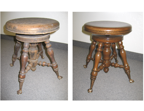 Stool before and after chair restoration