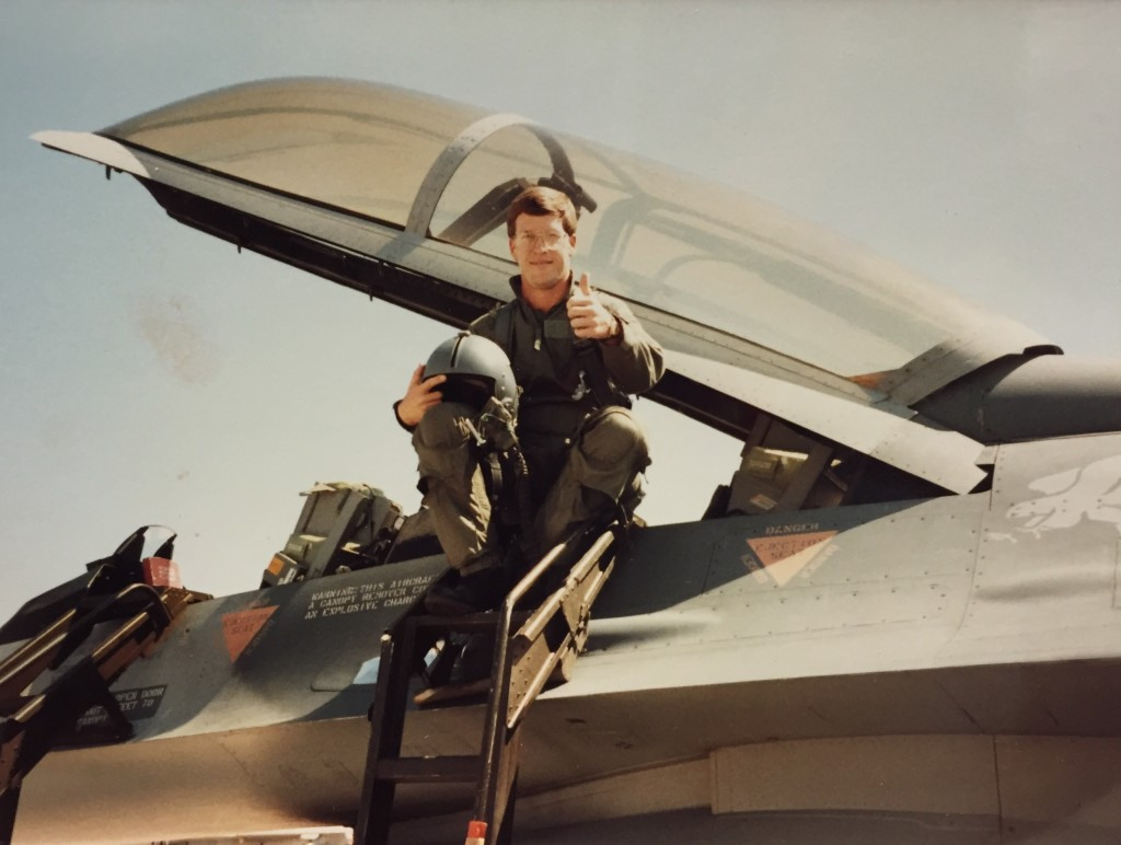 Don Sr. – Oct. 1989 – Prior to flying an interceptor mission in F-16D fighter jet over gold water range in Arizona.